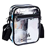 Clear Messenger Bag for Women & Men NFL Stadium Approved Transparent Crossbody Shoulder Bag Clear Purse with Adjustable Shoulder Strap for Work, Security & Sporting Event