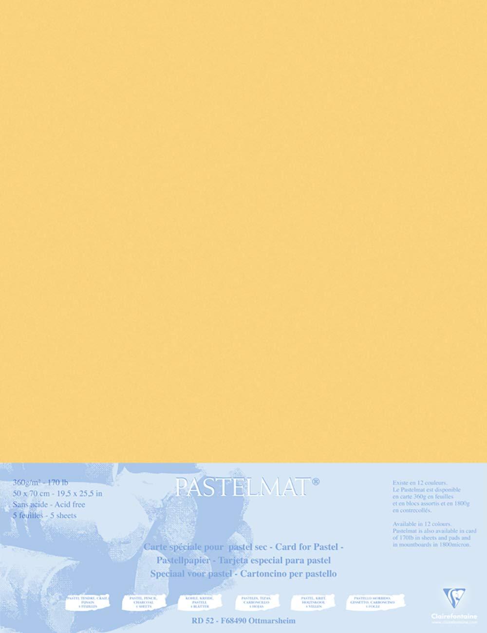 Clairefontaine 496022C Passepartout Pastelmat, 50 x 70 cm, 5 Fogli, Giallo Jardinage