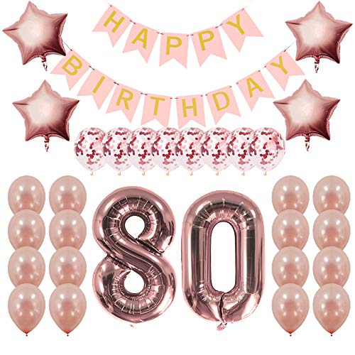 Rose Gold 80th Birthday Decorations Party Supplies Gifts for Women - Create Unique Events with Happy Birthday Banner, 80 Number and Confetti Balloons -