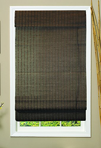 Lewis Hyman 0775127 Natural Woven Fiber Roman Shade, 27-Inch Wide by 72-Inch Long, Espresso