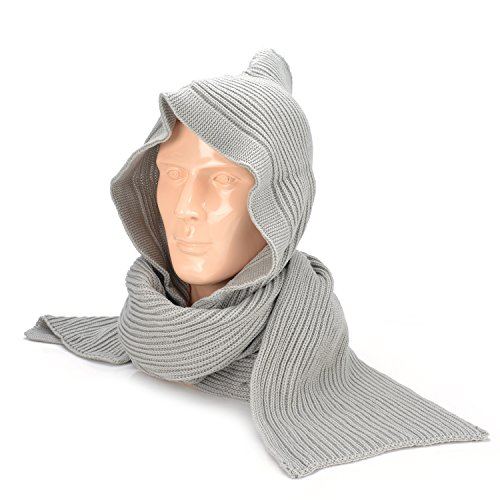 On Sale !! VRLEGEND Women Scarf Wrap Hooded Scarf Winter Cable Knit Warm Neckwarmer Hoodie Hat Thick (Grey)