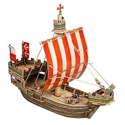Keranova 268 30 x 12.5 x 23cm Clever Paper Medieval Town Hanse Cog 3D Puzzle (1 Piece): Toys & Games