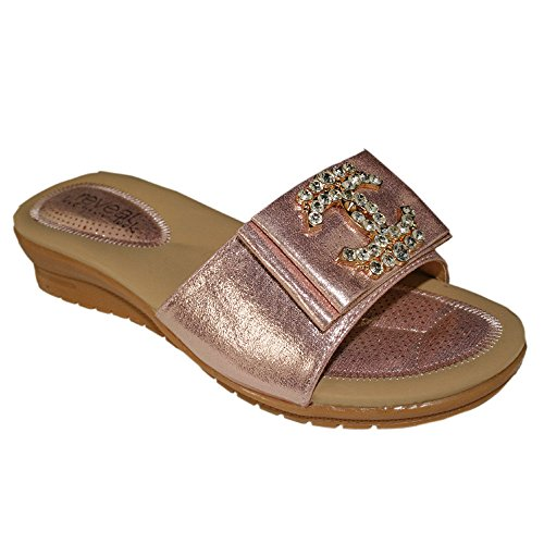 Aaishaz 786 Ladies Low Wedge Comfortable Slip on Diamantes Slip on Sandals lsa-5903 Shoes Rose qwul5ghce