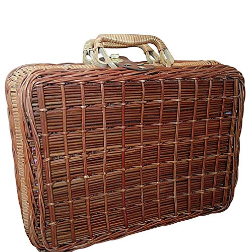 Woven Storage Trunk,Vintage Style Wicker Suitcase with Lining,Living Room Bedroom Decorative Storage Box-a 26x11x16cm(10x4x6inch) (Wicker Suitcase Vintage)