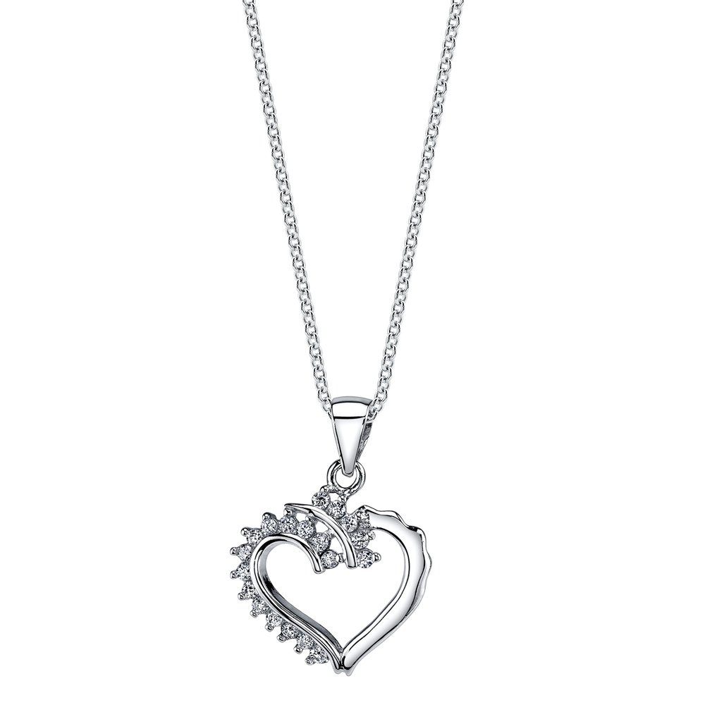 Minxwinx 925 Sterling Silver CZ Dainty Ornate Heart Pendant Necklace with Cubic Zirconias