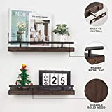 AKKO Set of 2 Floating Shelves for Wall, Rustic