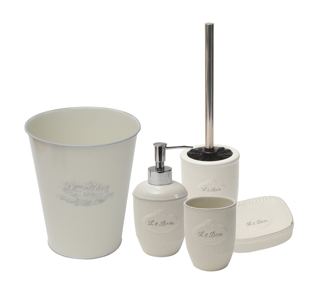 EVIDECO Le Bain 5 Pieces Bathroom Accessory Set, White