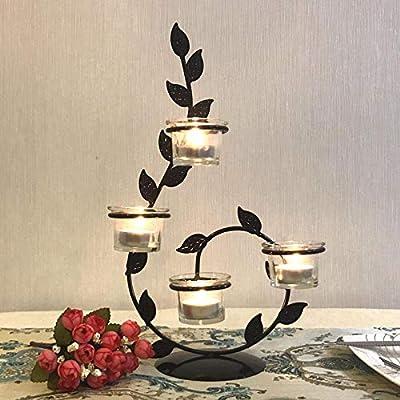 Home Wang Juegos de velasCandelabros de luz de té Mesa de candelabros Candelabros de Metal Retro geométricos románticos para la Boda/Cena Decoración Candelabros Candelabros Candelabros: Amazon.es: Hogar