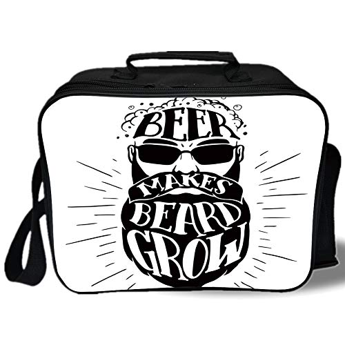 Insulated Lunch Bag,Man Cave Decor,Beer Makes Beard Grow Oktoberfest Inspired Illustration Man Portrait,Black and White,for Work/School/Picnic, Grey ()