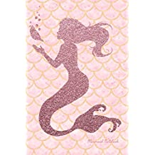 Mermaid Notebook: Faux Pink Glitter Cute Notebook for Girls Teens Kids Journal College Ruled Blank Lined (6 x 9) Small Composition Book Planner School Diary Softback Cover Mermaid Lover Gifts