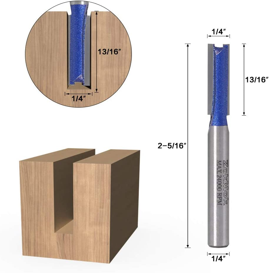 Industrial Grade Professional Router Straight Bits Perfectly Suitable for Light Work ZokMok Pro 1//4 inch Shank Carbide Straight Cut Router Bits Set