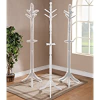 Poundex Wooden Standing Coat Rack in White Finish