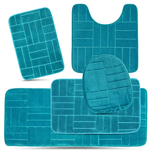 Effiliv Bathroom Rugs Set 5 Piece Memory Foam Mats, Extra Soft Anti-Slip Shower Large Bath Rug - Happy Feet, Happy Life, Aqua Teal Line Design