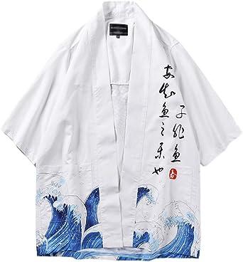 Liangzhu Chaqueta para Hombre, Japonesa del Estilo, del Kimono, Cuello Mao Estampado Camisa como Imagen M: Amazon.es: Ropa y accesorios