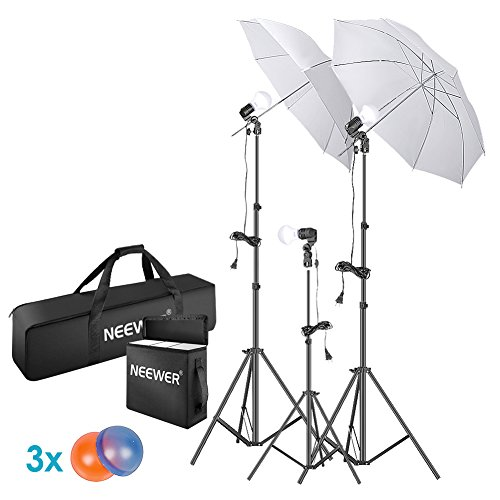 (Neewer 5500K Photo Studio Continuous Lighting Umbrellas Kit for Portrait Photography, Studio and Video Shooting, Includes: Umbrella, 15W LED Bulb, 83-inch Light Stand, 33-inch Mini Tripod, Gel Filters)