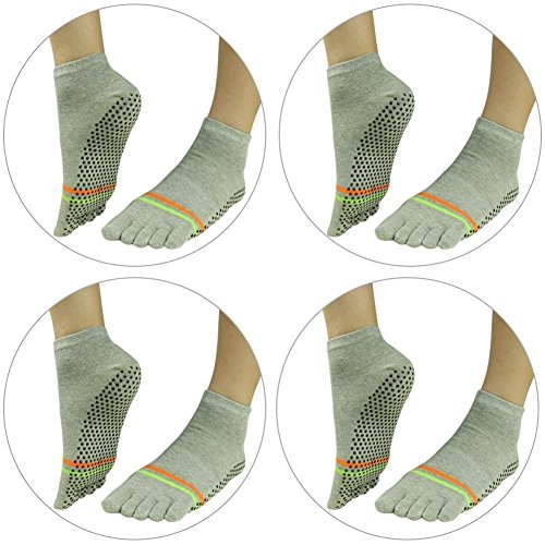 Socks Athletic J'colour Yoga Sports Stripes Pilates Gripes Women Barre 006 Grey Slip Pairs Non 2 Socks amp;Men Ankle 4 for 5z5Fcq