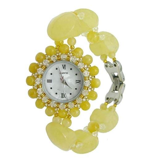 Relojes de Pulsera joyeria Topacio Natural Cuadro Amarillo Cera Reloj Pulsera Reloj de Mujer: Amazon.es: Relojes