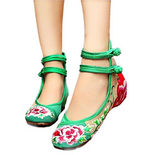 Bigwanbig Women's Embroidered Shoes (38 M EU, Green) ()