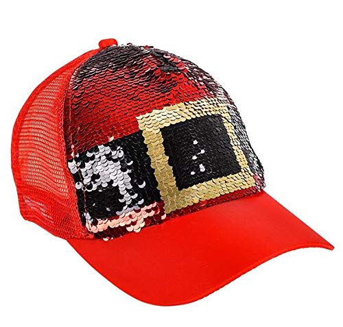 Rhode Island Novelty Santa Belt Reversible Sequin Baseball Cap/Trucker Hat
