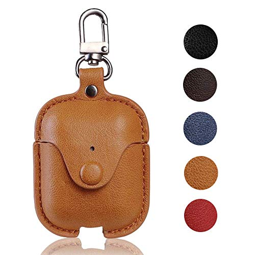 Airpod Case with Keychain,MicYou Premium Leather Shockproof Protective Cover for Apple AirPods Charging Case (Brown)