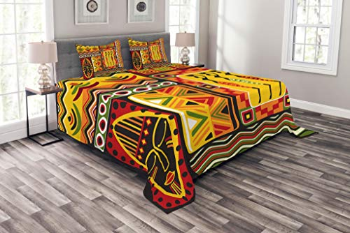 Lunarable African Coverlet Set King Size, African Elements Historical Original Striped Rectangle Shapes Artistic Design, Decorative Quilted 3 Piece Bedspread Set with 2 Pillow Shams, Scarlet Yellow ()