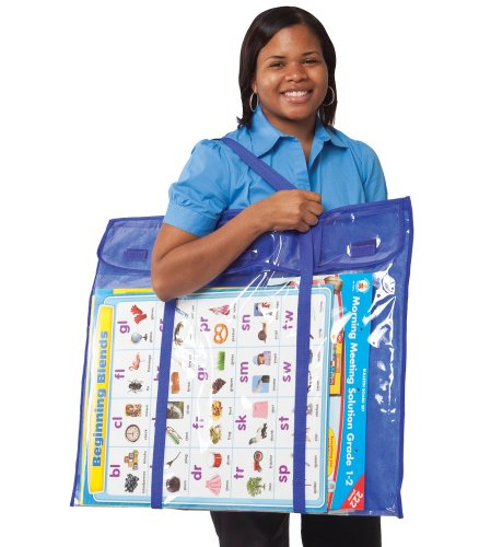 (Carson-Dellosa CD-180000 Deluxe Bulletin Board Storage Bag, Clear/Blue, 30