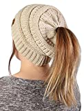 FunkyJunque's CC Ponytail Messy Bun BeanieTail Womens Beanie Solid Ribbed Hat Cap