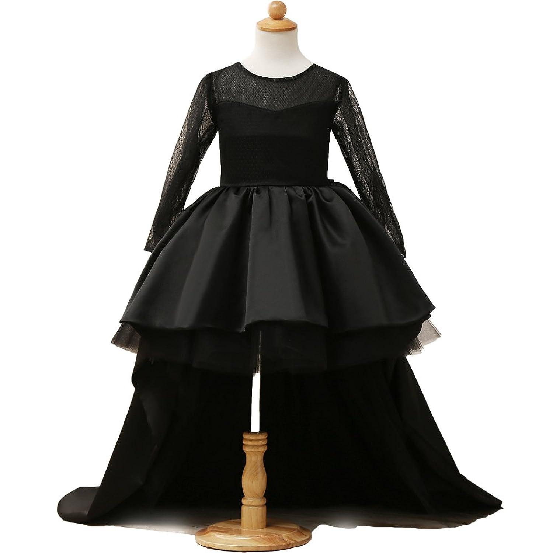HotGirls hoch niedrig Blumenmädchenkleid elegant Tüll lange Hülsenmädchen Parteikleid