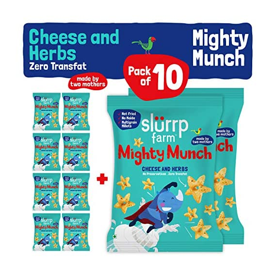 Slurrp Farm Healthy Snacks - Mighty Puff, Cheese and Herbs Flavour, 200g with Party Pack of 10 (Ragi Non-Fried Ready to Eat Snack for Kids)