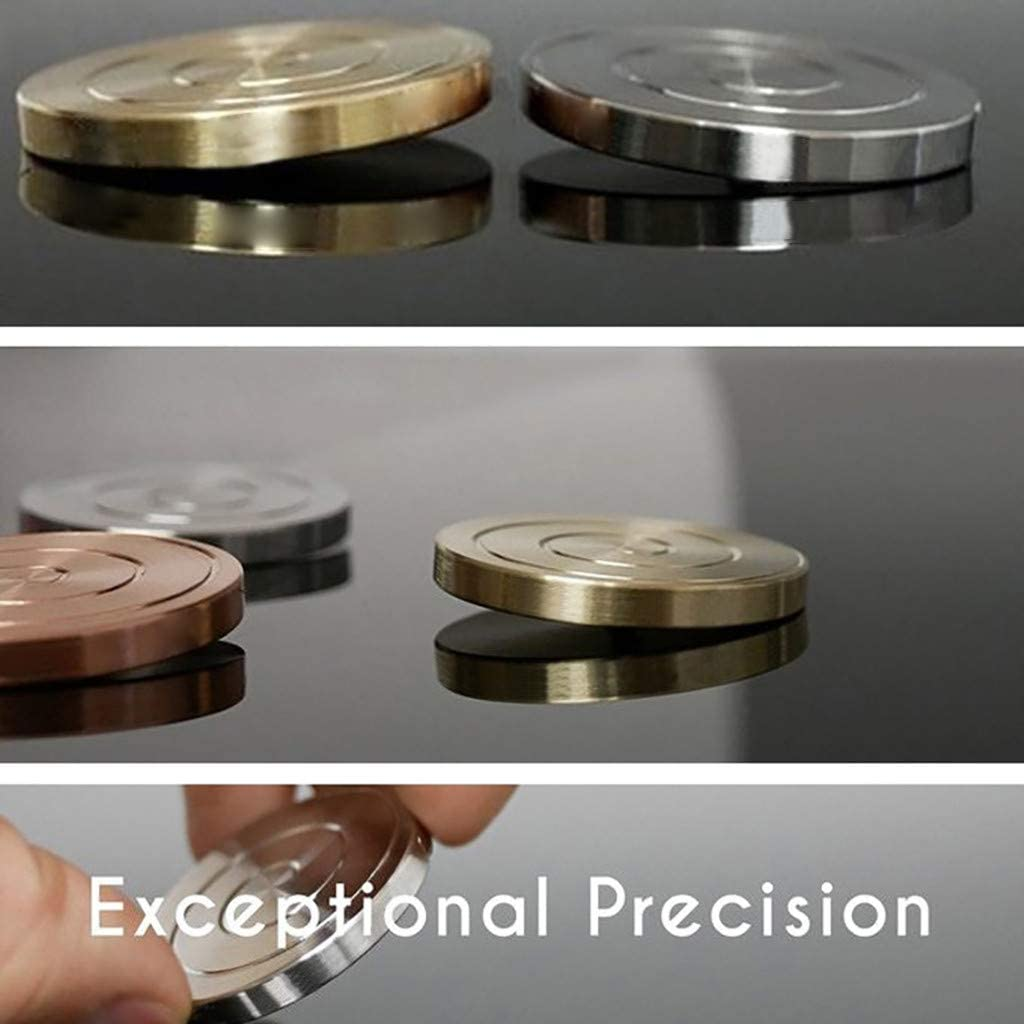Fixed Rotation Kinetic Desk Toy Desktop Unionm Stress Relief Toys Spinning Top Stress Anxiety Relief Silver Revolving It Creates Optical Illusion Revolve Coin