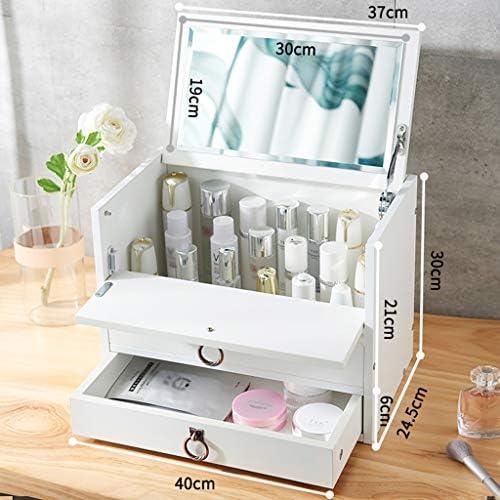 化粧品収納ボックス ミラーと引き出しドレッシングテーブルスキンケア製品収納ボックスホワイトブラウンの木製家庭用化粧品収納ボックス JAHUAJ (Color : White)