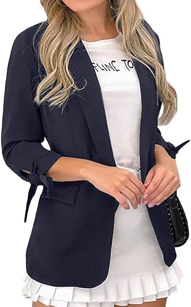 ORANDESIGNE Damen Blazer Cardigan Elegant Langarm Sakko Einfarbig Leicht Bolero Jacke Blazer Slim Fit Anzug Trenchcoat Revers Gesch/äft B/üro Kurz Mantel