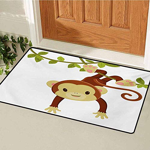 GUUVOR Nursery Universal Door mat Cute Cartoon Monkey Hanging on Liana Playful Safari Character Cartoon Mascot Door mat Floor Decoration W47.2 x L60 Inch Brown Green Pink