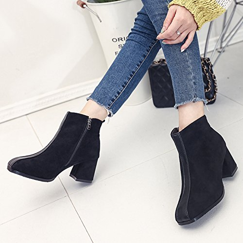 KHSKX-Square In Rough With The Heels Of Female Martin All-Match. During The Spring And Autumn Winter Boots Suede Short Boots Black OTSXfcxd