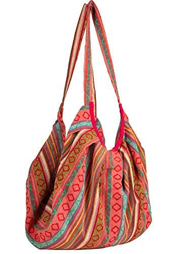 Tribe Azure Jacquard Cotton Baguette Shoulder Banana Style Fashion Travel Canvas Tote Bag Hobo Style Casual Market Purse Handbag (Pink) ()
