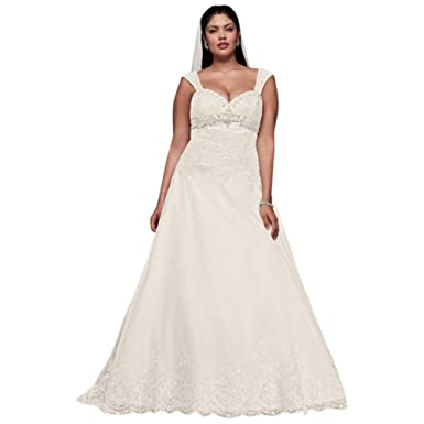Plus Size Wedding Dress with Removable Straps Style 9WG3838, Ivory ...