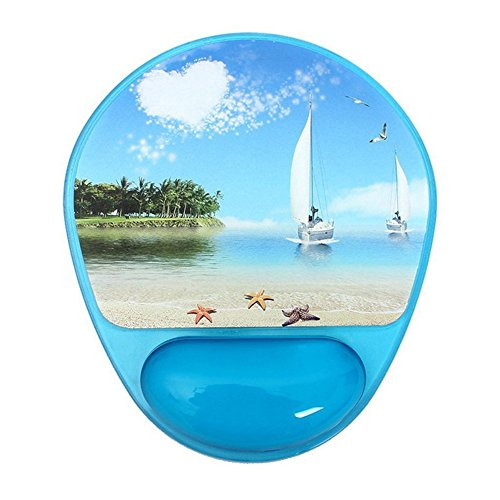 SubClap Gel Mouse Pad, Ergonomic Silicone Mouse Pad Mat with Wrist Rest Support (Blue Sailboat)