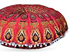Third Eye Export 32 In Mandala Barmeri Large Round Floor Pillow Cover Cushion Meditation Seating Ottoman Throw Cover Hippie Decorative Zipped Bohemian Pouf (Red)