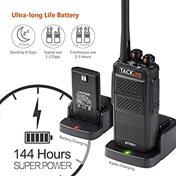 Tacklife Mtr01 Advanced Two-way Radio With Rechargeable 1300mah Li-ion Battery Uhf 400-470mhz Transceiver Earphone Long Working Distance 16 Channels Walkie Talkie | 2 Pcs 3