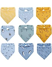 Baby Bandana Bibs with 2 Snap Buttons For Drooling Teething Feeding Super Absorbent 100% Organic Cotton For Boys and Girls (9 Pieces)