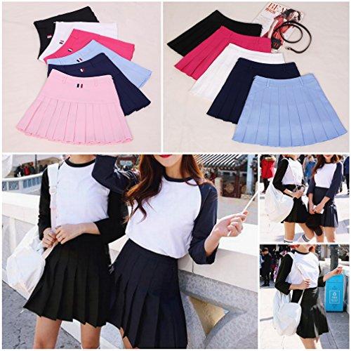 Femme Ru Jupe Bleu Ciel Tennis Short Xiang Slim Campus Style Plisse Taille Haute Jupe Courte CqRtxnwA