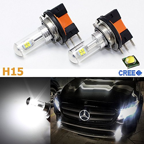 Super Bright White 80W High Power CREE H15 LED Bulbs For VW Volkswagen Audi BMW Mercedes Daytime Running Lights 2009-2015
