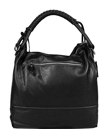 9470b4ffd7fa7 ... Schöne praktische Leder Schwarze Handtasche aus Leder Gloria Nera über  die Schulter