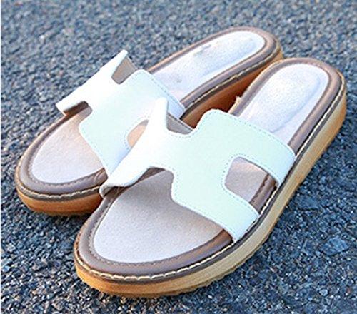 AJUNR Moda/elegante/Transpirable/Sandalias Zapatillas zapatos gruesos bizcochos ocio y blanco 4cm con pendiente 38 34