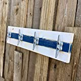 Nautical Boat Cleat Towel Rack, Distressed White and Blue