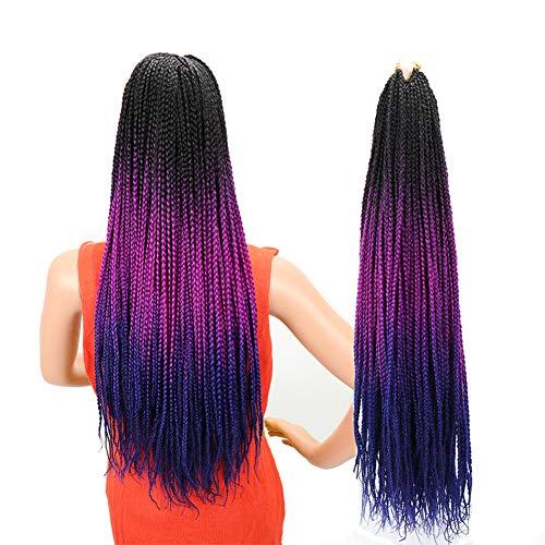 Ombre Box Braids Crochet Hair 24 Inch 24 Strands/6Packs 100g/Pack High Temperature Fiber Hair Extensions Colorful Braids For Women (Black-Purple-Blue)