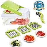 Smart Vegetable Chopper,Fruit Vegetable Slicer Dicer,Effortless No-Mess Multifunctional Salad Vegetable Cutter+Peeler Slicer (Freebies),Kitchen Necessity for Vegan,Chef,Housewife