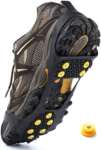Weanas Ice Grips, Ice & Snow Grips Cleat Over Shoe/Boot Traction Cleat Rubber Spikes Crampons Anti Slip Stretch Footwear S/M/L/X-L (Extra 10 Studs)