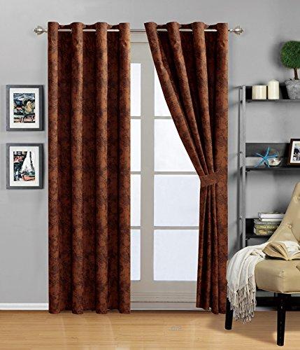 "Grand Linen 4 Piece Dark Brown Embossed Faux Suede Paisley Grommet curtain set 108"" Wide X 84"" Long"