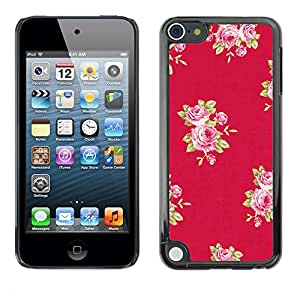 Planetar® ( Rose Pattern Pink Lilac Purple Red ) Apple iPod Touch 5 Fundas Cover Cubre Hard Case Cover